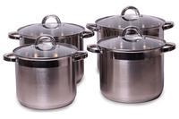 Набор посуды нержавеющий Kamille - 6,8 x 8 x 10 x 12,5 л (4 шт.)