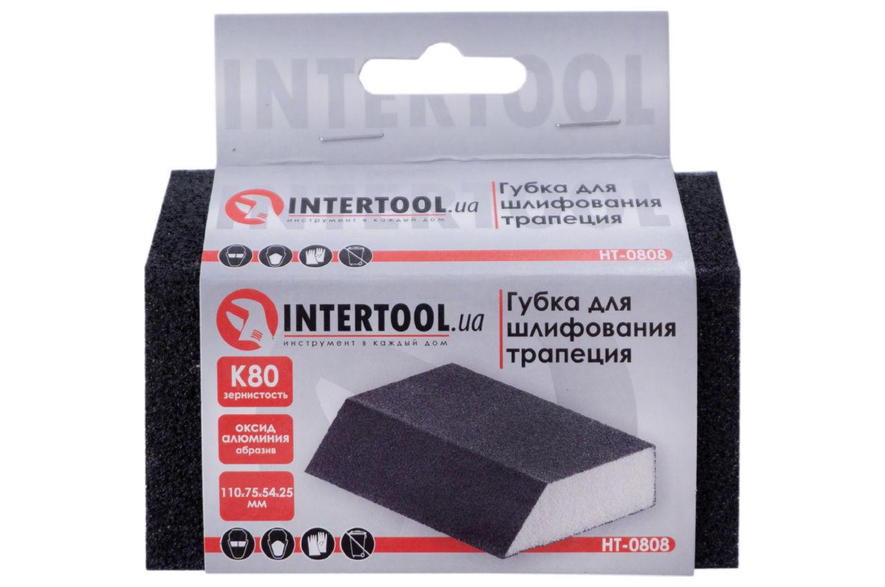 Губка шлифовальная Intertool - 110 x 75 x 25 мм x P80 трапеция 4