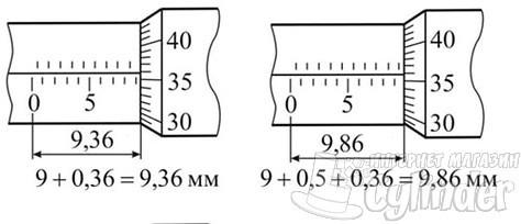 чтение значений на микрометре